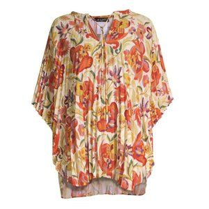 Etro Floral Deco Print Pleated Poncho Blouse